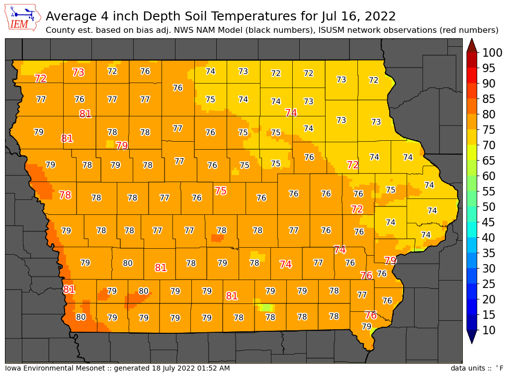 County temperatures derived from isu observations www for Soil temperature map