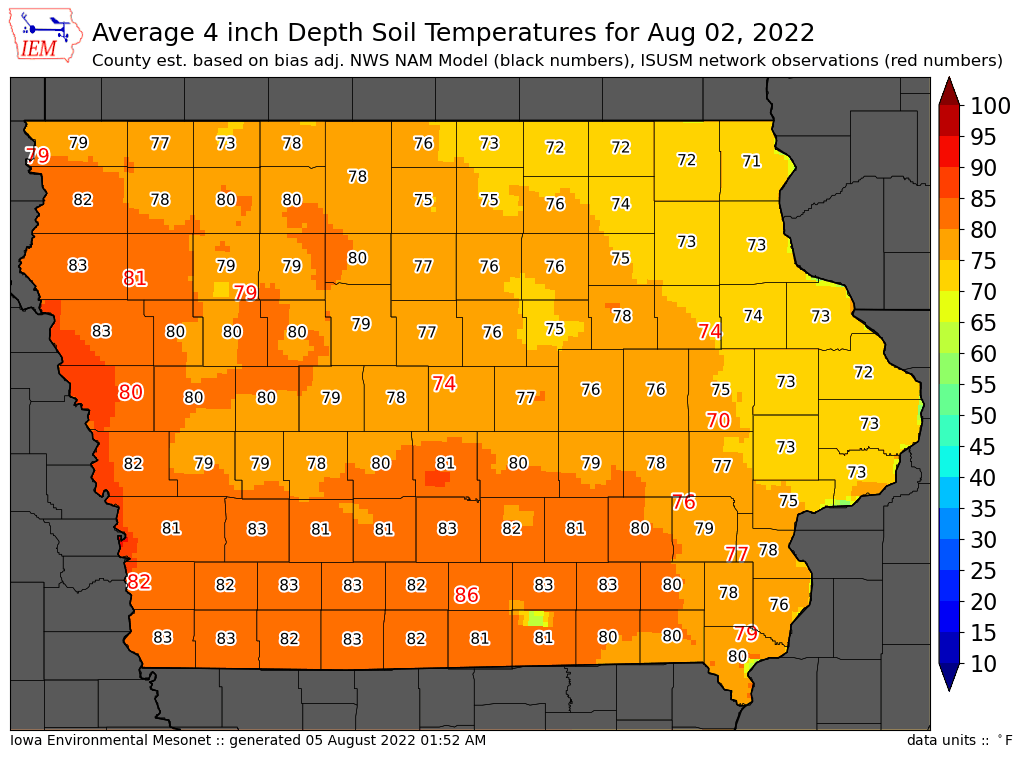 County temperatures derived from isu observations www for Soil temperature