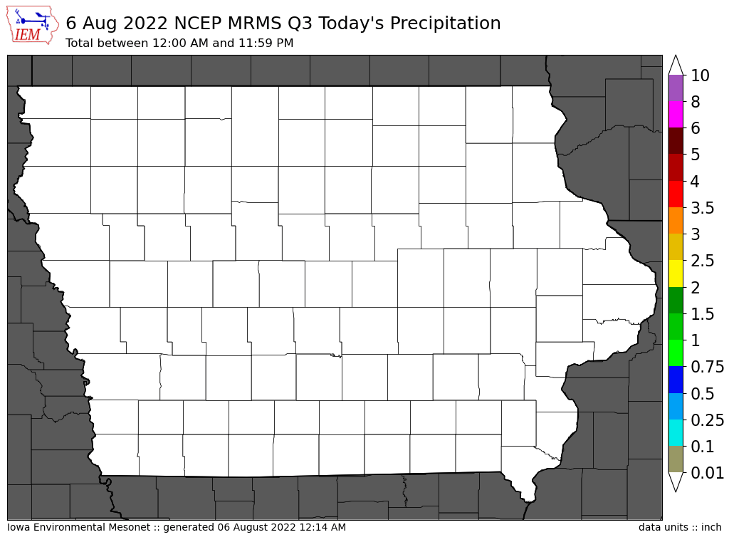 Today's Estimated Precipitation from Iowa Mesonet