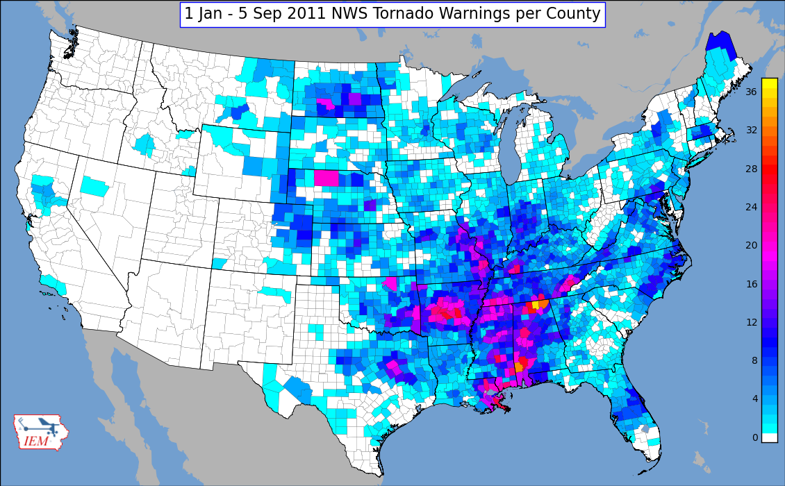 US Tornado Alley Maps Show The Tornado Risk Regions In The USA - Map of tornado frequency in us