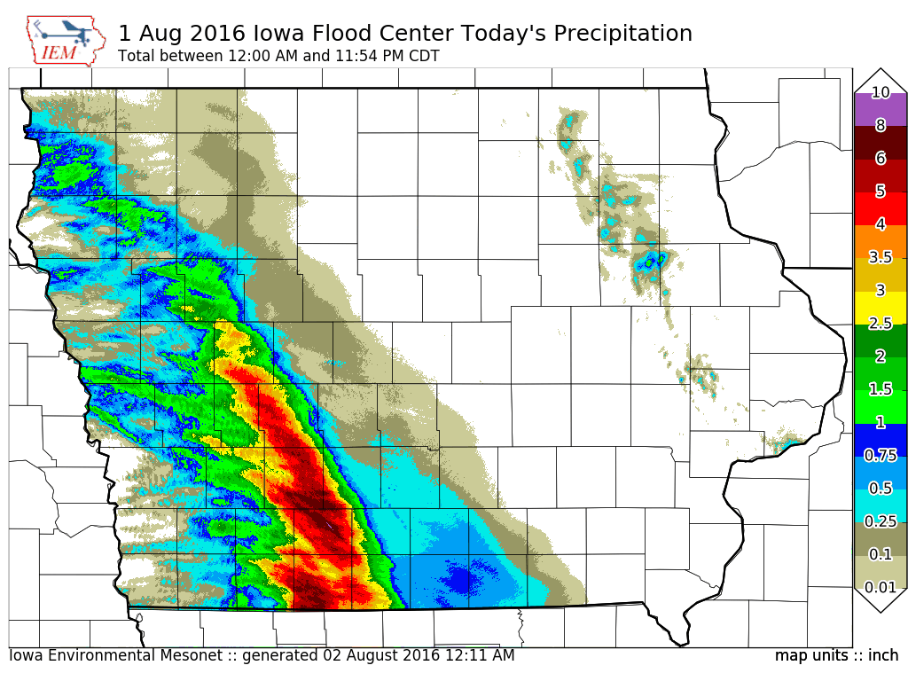 The Big Rainfall Events Of July Continued Into August On Monday With A Stripe Of Very Intense Rainfall Falling Over Southwestern Iowa The Featured Map