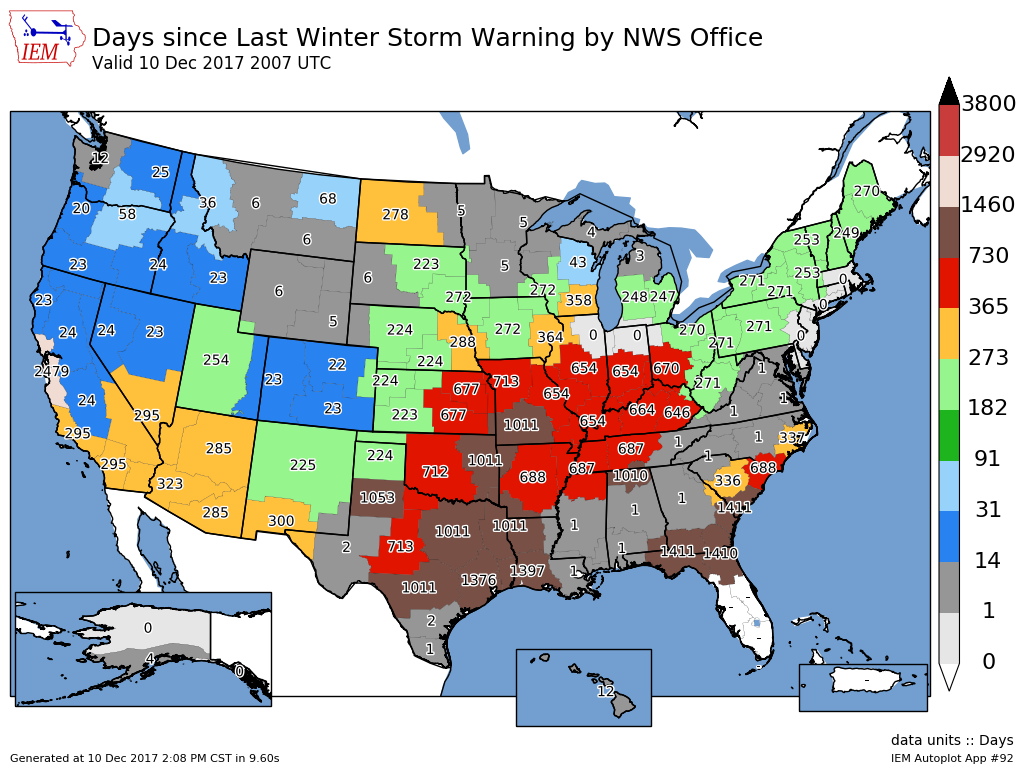 IEM :: 2017-12-11 Feature - Days since last Winter Storm Warning