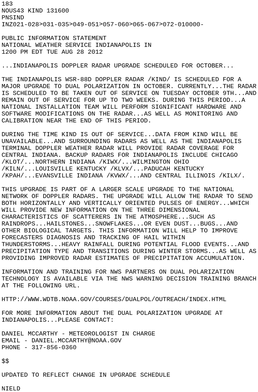 IEM :: PNS from NWS IND