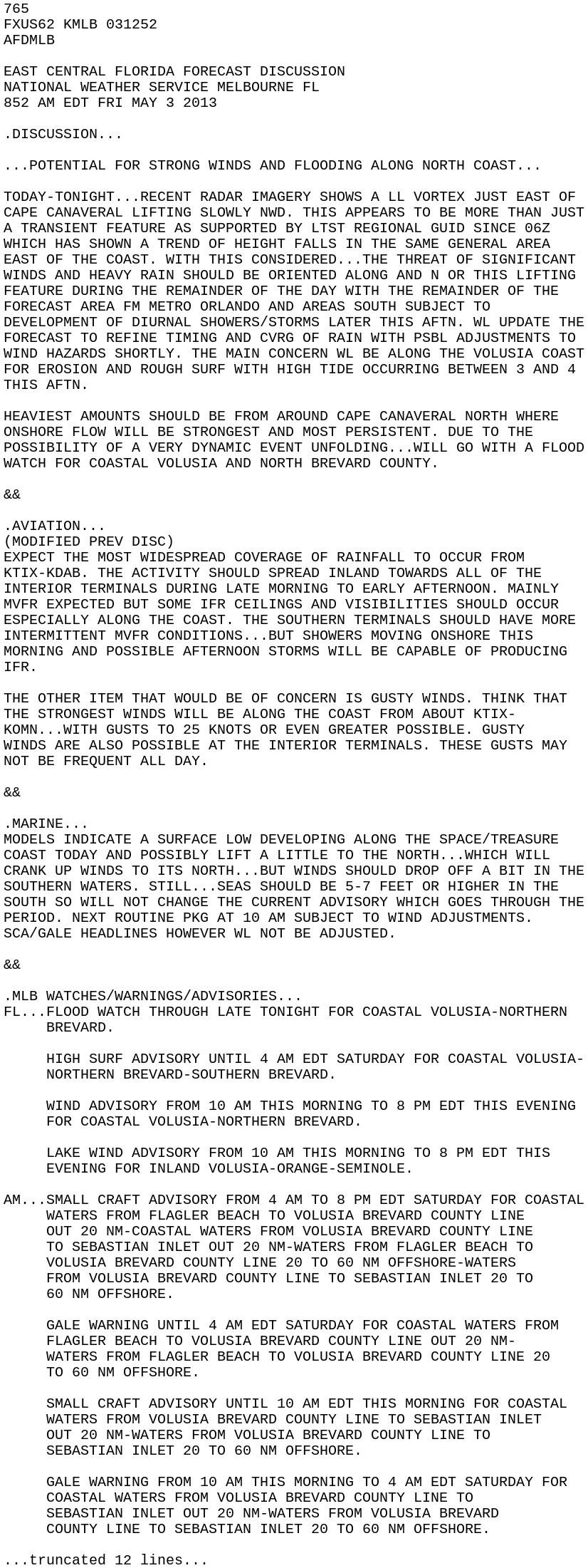 IEM :: AFD from NWS MLB