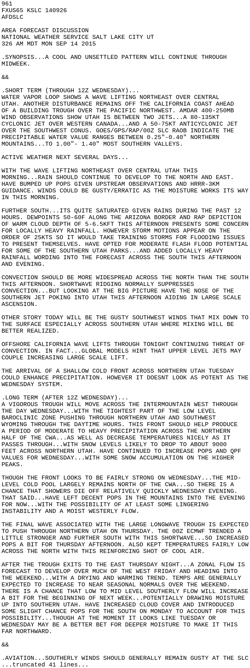 IEM :: AFD from NWS SLC