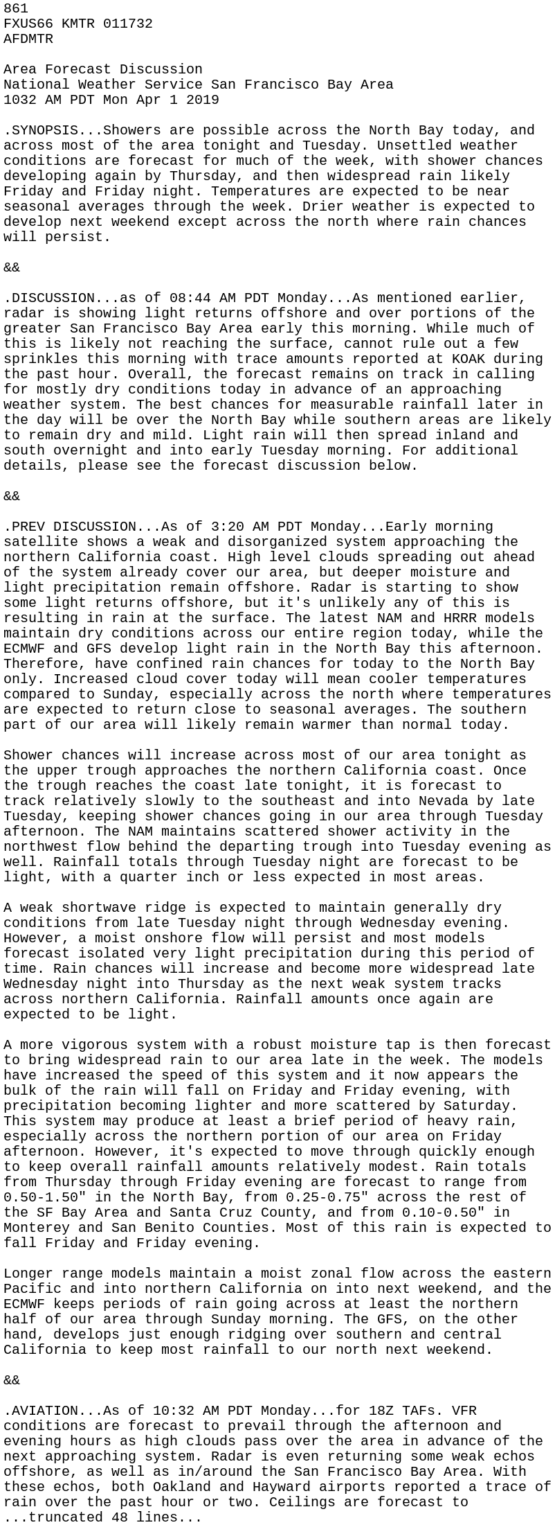 IEM :: AFD from NWS MTR