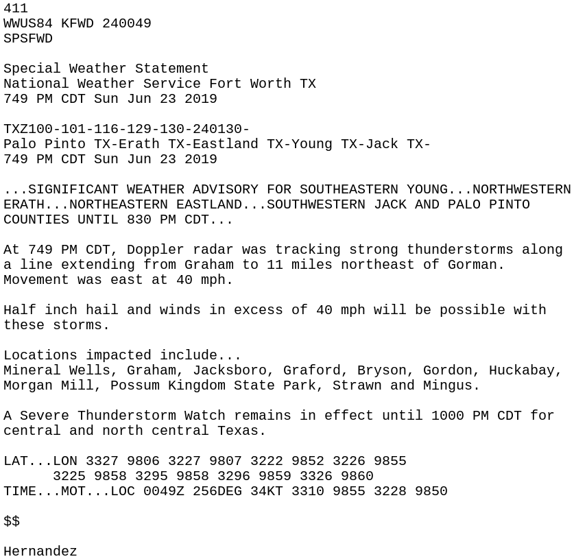 IEM :: SPS from NWS FWD